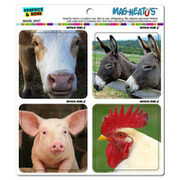 Farm Animals Pig Cow Rooster Donkey MAG-NEATO'S TM Car-Refrigerator Magnet Set