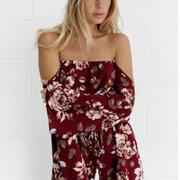 Red Wine Off Shoulder Long Sleeve Floral Romper