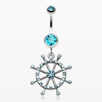 zzz-Classic Boat Anchor Wheel Belly Button Ring