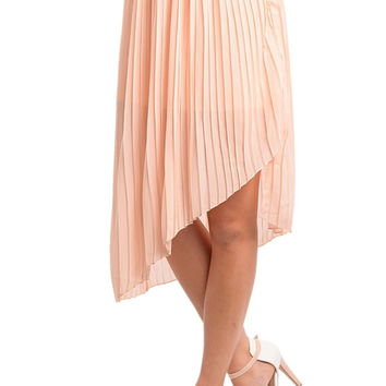 Asymmetric Accordian Pleat Midi Skirt