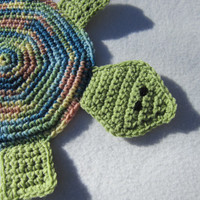 Turtle Pot Holder Crocheted Turtle Hot Pad in Green, Blue, Peach and Yellow, Turtle Trivet by Crocheted by Charlene