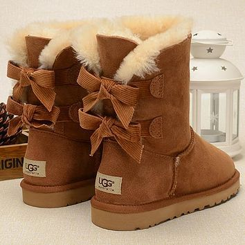 UGG Fashion Women Fur Bow Wool Snow Boots Half Boots Shoes