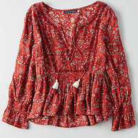 AEO Smocked Peplum Top , Red