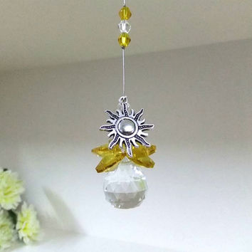 Silver Sun and Crystal Sun Catcher, Amber Crystal Sun Catcher, Sun Ornament, Crystal Ball Suncatcher,  Feng Shui Prisms, Crystal Prism Decor