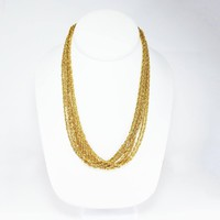 """Gold Tone Multi Chain Necklace, Signed Nolan Miller, Eight Twisted Rope Chains, Sparkling Gold Tone, Vintage 1990s Classic 18"""" Adjustable"""