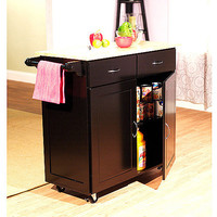 Walmart: Large Kitchen Cart with Wood Top, Multiple Finishes