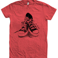Women Tshirt Sneakers Custom Hand Screen Print American Apparel Crew Neck Available: S, M, L, XL 12 Color Options