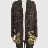 Two Tone Knit Wool Cardigan with Pockets