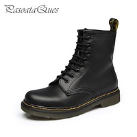Big Size 10~13 Real Leather Martins Women Boots Snow Boots Military Girls for Casual Walking Shoes Winter Femme Bota 2016