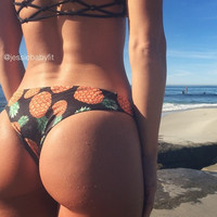 REVERSIBLE: LANI KAI Brazilian Bikini Bottoms Create Your Own pineapple