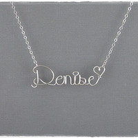 FREE SHIPPING!!!  Denise Wire Word Name Pendant Necklace