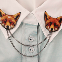 Fox jewelry , collar clip , collar pin , sweater clip , sweater brooch , collar brooch , funky brooch , fox brooch , animal jewelry ,