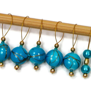 Knitting Stitch Markers, Snag Free, Aqua, Blue, Gold, DIY Knitting Tools, Gift for Knitter, Craft Supplies, TJBdesigns