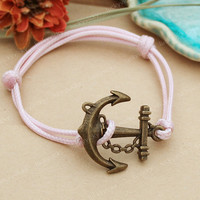 Bracelet-Anchor bracelet-vintage anchor bracelet with pink string