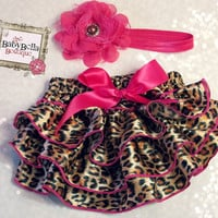 Leopard and hot pink Ruffled Satin Baby Bloomers and headband set- Newborn Outfit