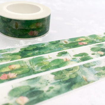 water lily masking tape 10M watercolor lotus lily flower masking tape green leave deco tape sticker garden pond plants scrapbook gift