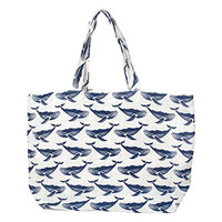 Coastal Print Soft Lightweight Jute Beach Tote Shoulder Bag (Whales Navy on White)