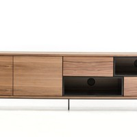 Modrest Torlonia Modern Walnut & Black TV Stand