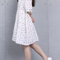 White Rankish Dog Print A-Line Dress