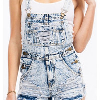 Acid Wash Distressed Shorts Overalls