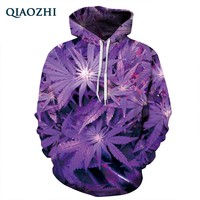 QIAOZHI New Harajuku 3D Hoodie Leaves Print Sweatshirt Unisex Hoodies With Cap lovely Tracksuits Fashion Hooded Sweatsuit Tops