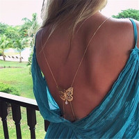 Fashion Unique Long Necklace Body Chain Bare Back Gold Butterfly Simulated-pearl body chain necklace for Women XL-457