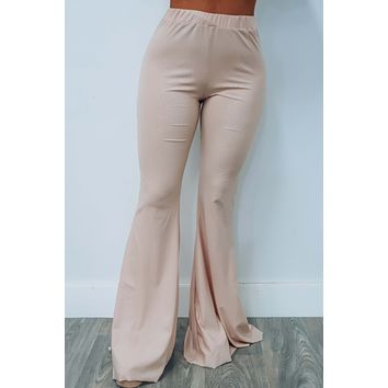 No Commitment Bell Bottoms: Nude