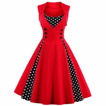S-4XL Women Robe Pin Up Dress Retro 2017 Vintage 50s 60s Rockabilly Dot Swing Summer female Dresses Elegant Tunic Vestido