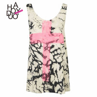 Women O-Neck Tank Top Casual Crop Tops Casual T-shirt Cross Printed