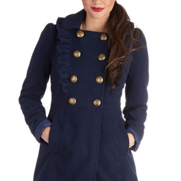 Stately Supper Coat in Blue | Mod Retro Vintage Coats | ModCloth.com