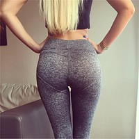 2017 Fashion Sexy High Waist Stretched Carry Buttock Clothes Knitted Spandex Heart Shape Womens Leggings Fitness Active Pants