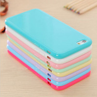 Hot Solid Candy Color TPU Soft Rubber Skin Cover Phone Case for Apple iphone 6 4.7'' inch Phone Accessories 12 Colors