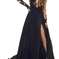 Honey Qiao Split Side Black Prom Dresses Long Lace Sheer Sleeves Formal Gowns