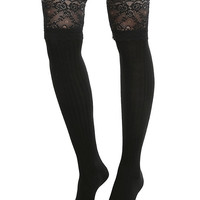 Blackheart Black Lace Cuff Ribbed Over-The-Knee Socks