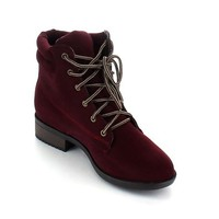 ANNA JUNO-6 Women Flat Menstyle Inspired Oxford Lace Up Military Combat Ankle Boot, Color:BROWN, Size:7