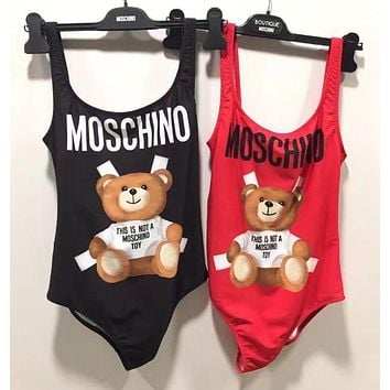 Moschino Summer Sexy Women Bear Letter Print Backless One Piece Bikini Swimsuit Bodysuit I-HNMRY