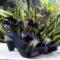 Vegan Womens Sandals, Cut Out Wedge Heel Choose From 2 Ethnic Textiles, Purple or Olive Green - Chelsea