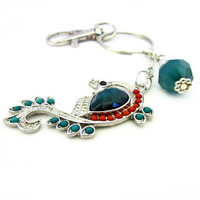 Peacock Keychain, Pretty Peacock Keyring, Peacock Charm Car Accessory