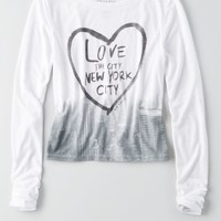 AEO Women's Soft & Sexy Long Sleeve Baby T-shirt (White)