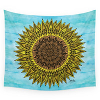 Society6 Zentangle - Sunflower Sunshine Wall Tapestry