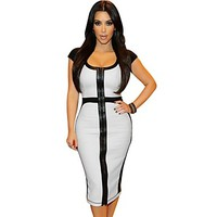 Women's Round Collar White Black Casual Offices Cocktail Party Knee Bodycon Dresses - USD $ 27.99