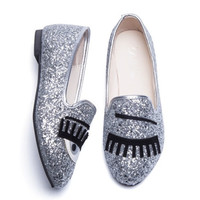 Women Flats Oxford Casual Shoes Woman Female Loafers Eyes Sequins
