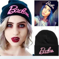 High quality Simple Casual Fashion Unisex Hip Hop Knitted Hats, Winter Embroidery Printed Cap, Warm Sport Outdoor Ski Hat,BBC502 (Color: Black)