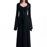 Black Hooded Bell Sleeve Robe