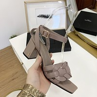 ysl women casual shoes boots fashionable casual leather women heels sandal shoes 232