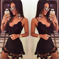 Summer New Fashion Solid Color Mesh Straps Dress Black