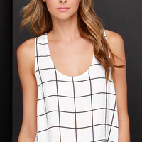 Truth or Square Black and Ivory Grid Print Top