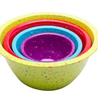 Confetti Nested Mixing Bowls (4-piece Set) - Assorted Kiwi. Environmentally Friendly. Use for Mixing or Serving.