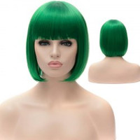 Bob Style Stylish Straight Full Bang Green Synthetic Short Party Wig For Women