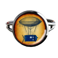 Dr Who Inspired Tardis Ring - Tardis Hanging From Blimp - Public Police Box Jewelry - Geeky Whovian